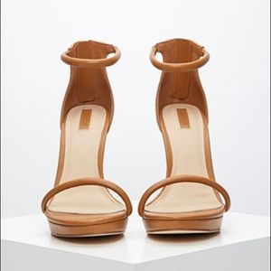 Forever 21 tan ankle strap heels size 7.5!